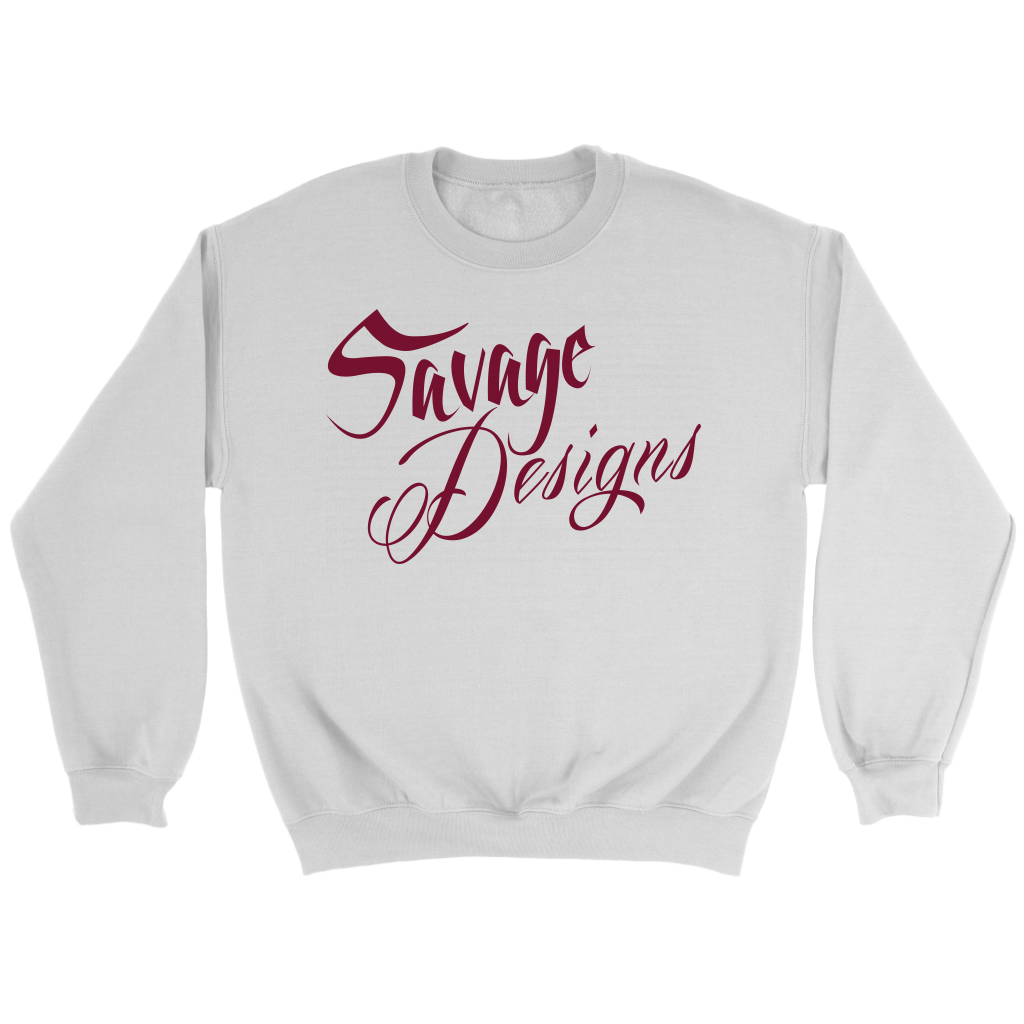 Savage Designs Cursive Script Maroon Sweatshirt- 4 Colors