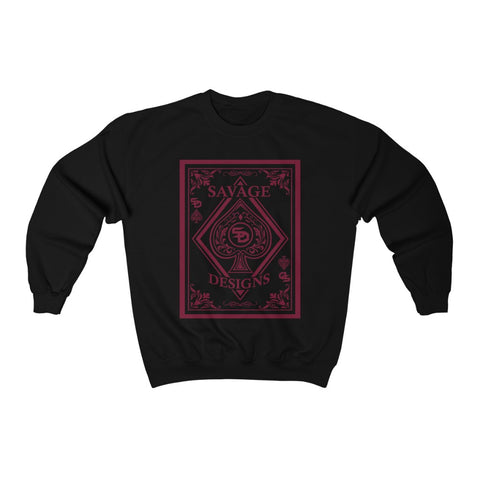 Savage Designs Ace of Spade Maroon Sweatshirt- 5 Colors