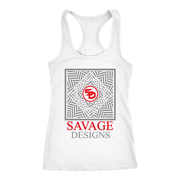 Savage Designs Optical Illusion Grey/Red Tank Top- 8 Colors