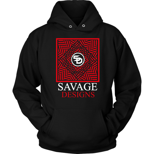 Savage Designs Optical Illusion Red/White Hoodie- 4 Colors