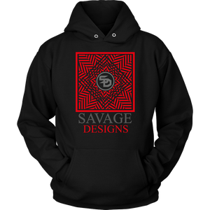 Savage Designs Optical Illusion Red/Grey Hoodie- 1 Color