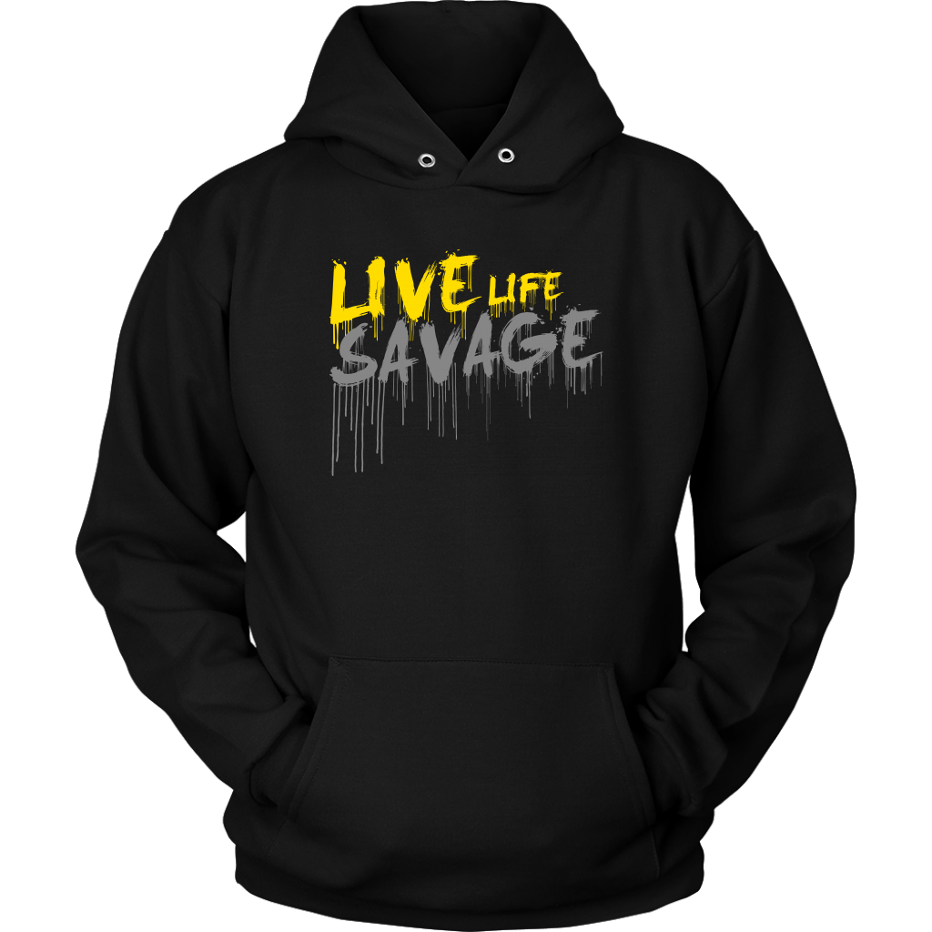 Live Life Savage Paint Drip Yellow/Grey Hoodie- 7 Colors