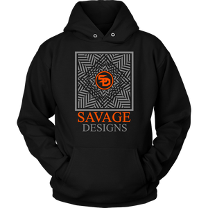 Savage Designs Optical Illusion Grey/Orange Hoodie- 9 Colors