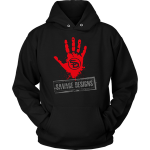 Savage Designs Handprint Stamp Red/Grey Hoodie- 5 Colors