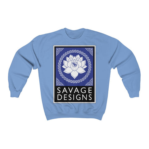 Savage Designs Lotus Flower Royal Blue/White/Black Sweatshirt- 4 Colors