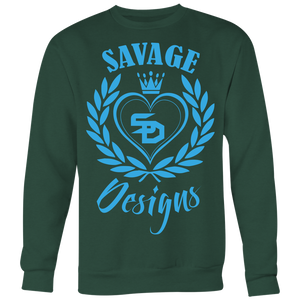 Savage Designs Heart of Hearts Turquoise Sweatshirt- 8 Colors