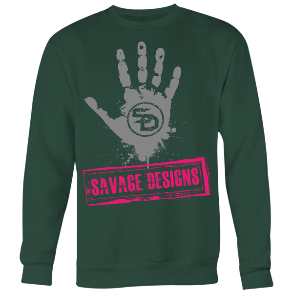 Savage Designs Handprint Stamp Grey/Hot Pink Sweatshirt- 8 Colors