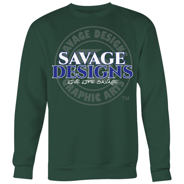 Savage Designs Faded Symbol White/Royal Blue/Grey Sweatshirt- 6 Colors