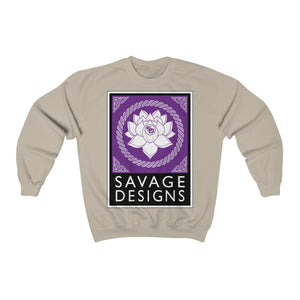 Savage Designs Lotus Flower Purple/White/Black Sweatshirt- 4 Colors