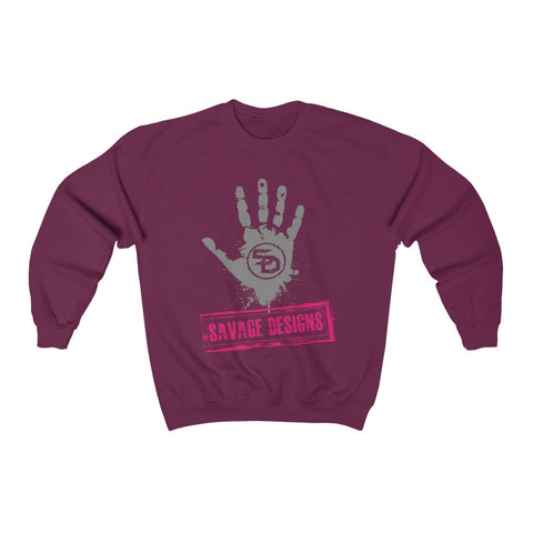 Savage Designs Handprint Stamp Grey/Hot Pink Sweatshirt- 3 Colors