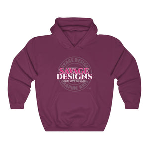 Savage Designs Faded Symbol Hot Pink/White/Grey Hoodie- 1 Color
