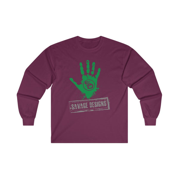 Savage Designs Handprint Stamp Green/Grey Long Sleeve- 3 Colors