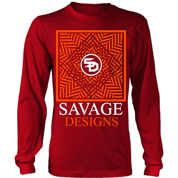 Savage Designs Optical Illusion Orange/White Long Sleeve- 10 Colors
