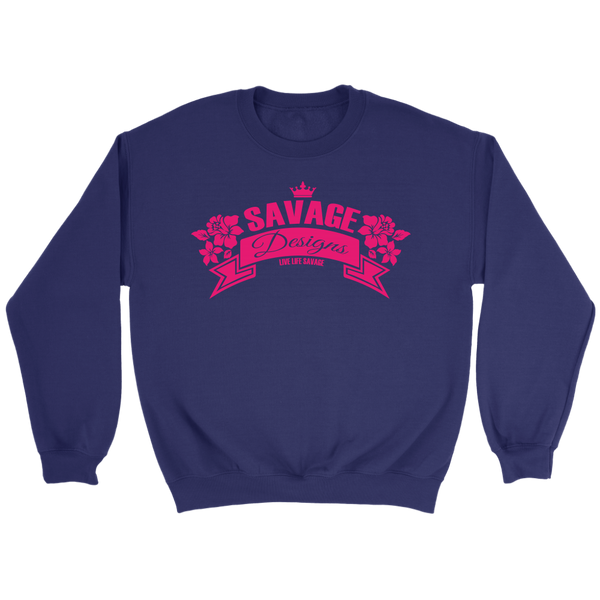 Savage Designs Royal Blossom Hot Pink Sweatshirt- 7 Colors