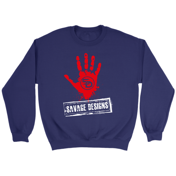 Savage Designs Handprint Stamp Red/White Sweatshirt- 6 Colors