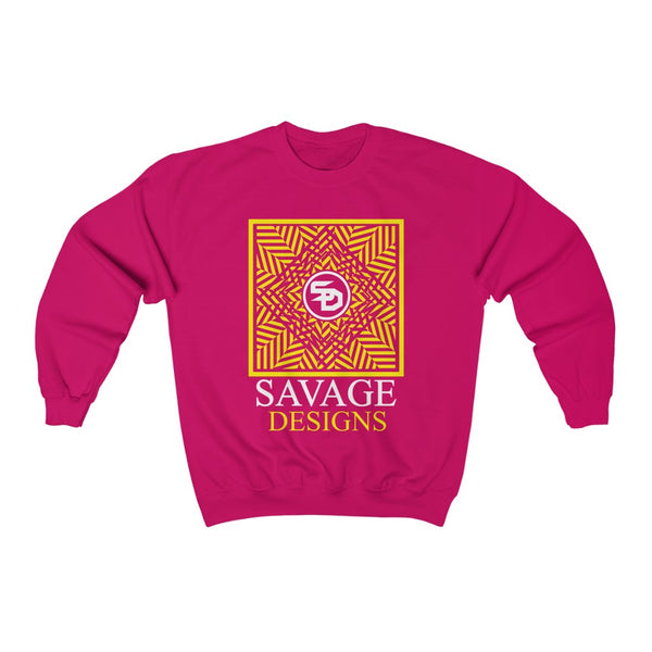 Savage Designs Optical Illusion Yellow/White Sweatshirt- 4 Colors