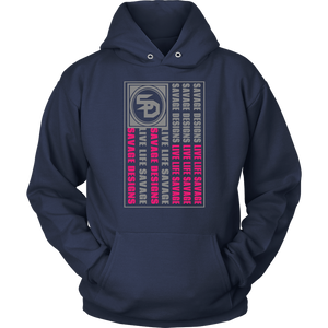 Savage Designs Flag Grey/Hot Pink Hoodie- 8 Colors