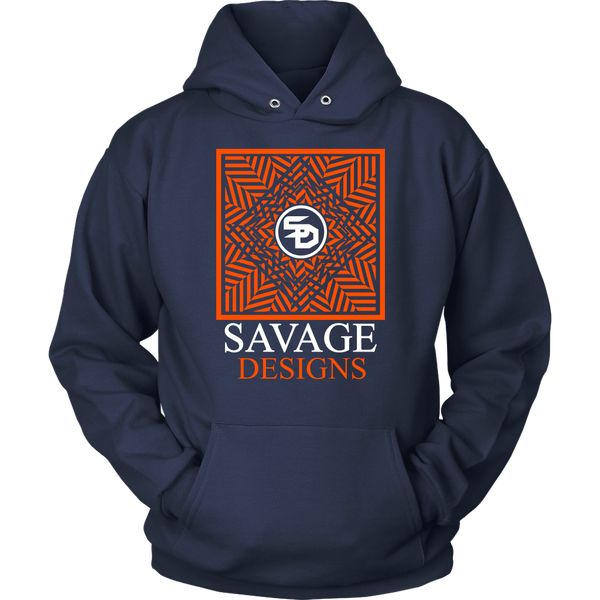 Savage Designs Optical Illusion Orange/White Hoodie- 8 Colors