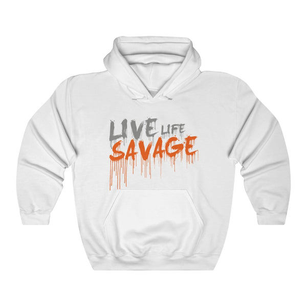 Live Life Savage Paint Drip Grey/Orange Hoodie- 3 Colors