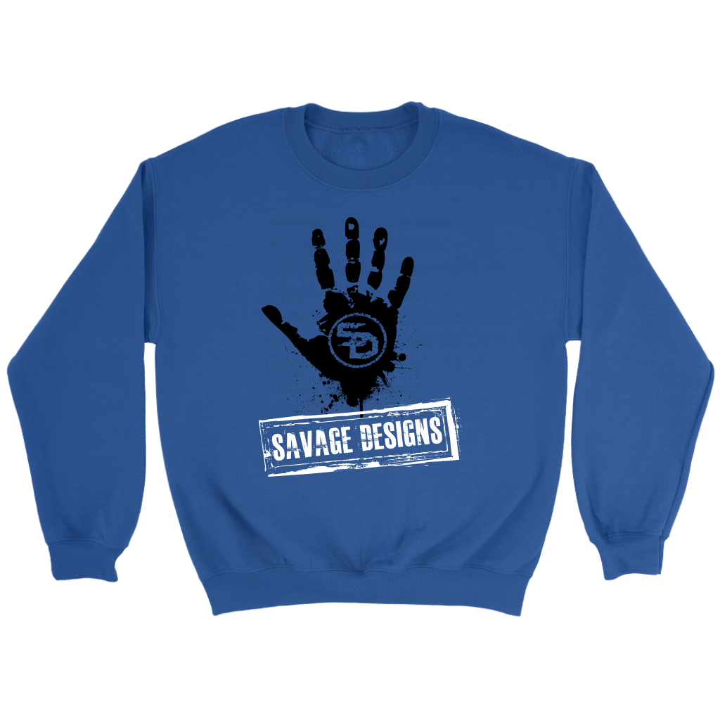 Savage Designs Handprint Stamp Black/White Sweatshirt- 7 Colors