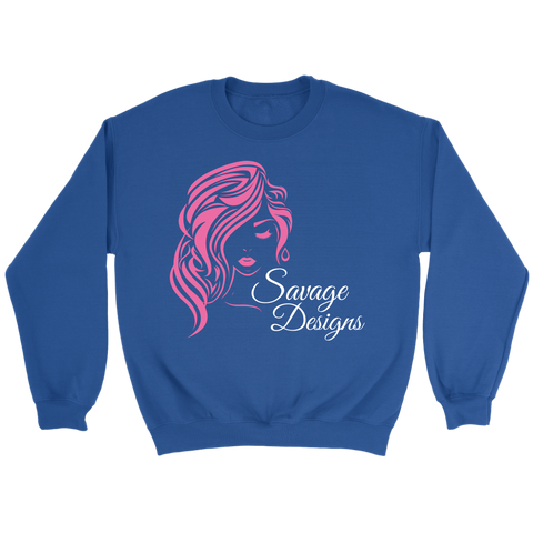 Savage Designs Women's Beauty Pink/White Sweatshirt- 4 Colors