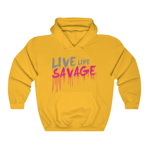 Live Life Savage Paint Drip Grey/Hot Pink Hoodie- 3 Colors