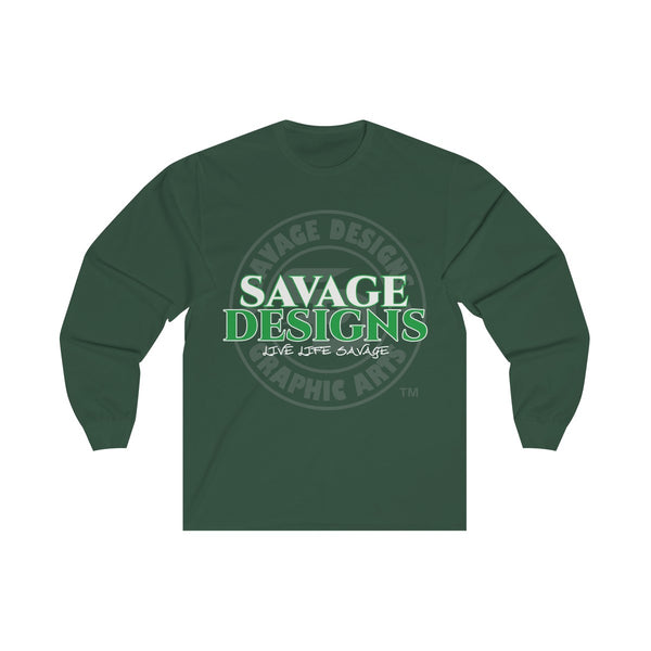 Savage Designs Faded Symbol White/Green/Grey Long Sleeve- 3 Colors