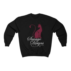Savage Designs Lady Kitten Maroon/White Sweatshirt- 3 Colors