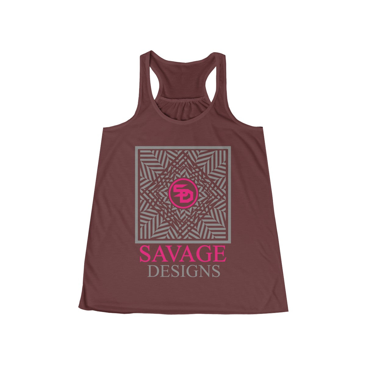 Savage Designs Optical Illusion Grey/Hot Pink Tank Top- 1 Color