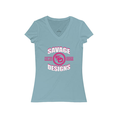 Savage Designs Dead Focus White/Hot Pink V-Neck- 3 Colors