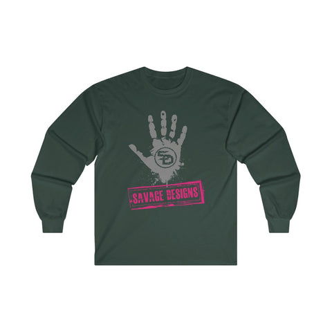 Savage Designs Handprint Stamp Grey/Hot Pink Long Sleeve- 4 Colors