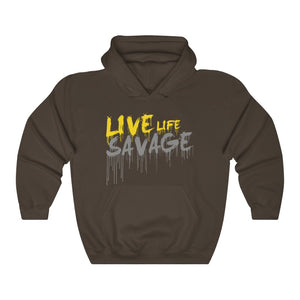 Live Life Savage Paint Drip Yellow/Grey Hoodie- 2 Colors