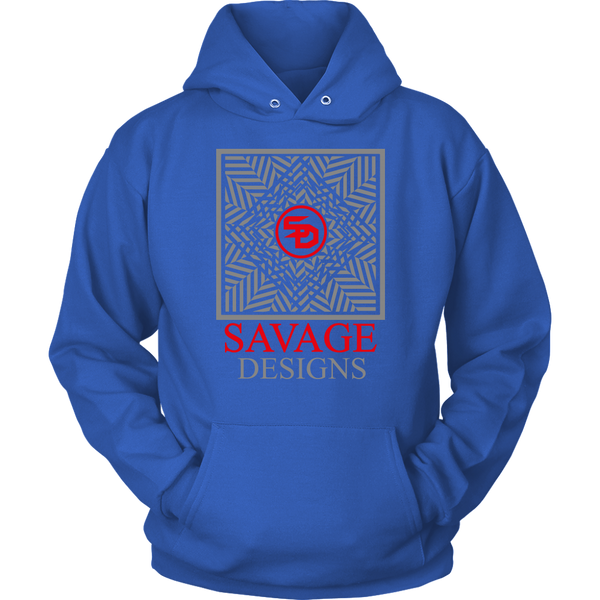 Savage Designs Optical Illusion Grey/Red Hoodie- 7 Colors