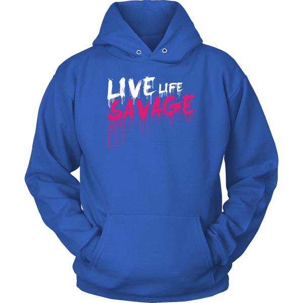 Live Life Savage Paint Drip White/Hot Pink Hoodie- 8 Colors
