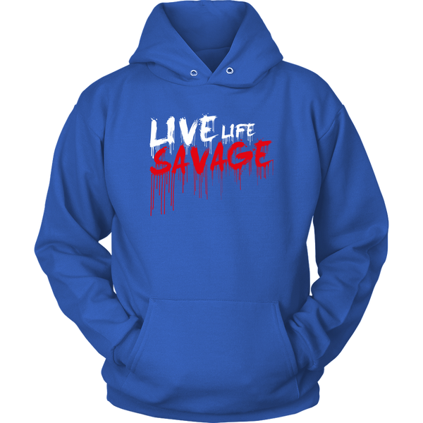 Live Life Savage Paint Drip White/Red Hoodie- 10 Colors