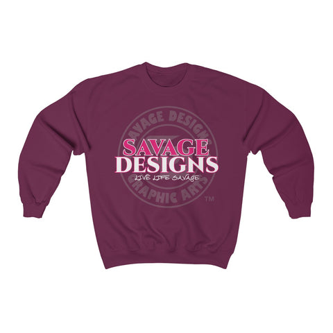 Savage Designs Faded Symbol Hot Pink/White/Grey Sweatshirt- 4 Colors