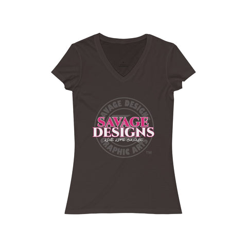 Savage Designs Faded Symbol Hot Pink/White/Grey V-Neck- 2 Colors