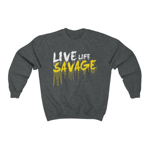 Live Life Savage Paint Drip White/Yellow Sweatshirt- 3 Colors