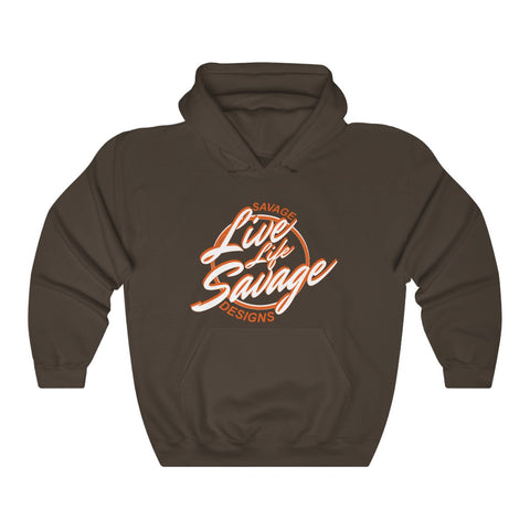 Savage Designs Live Life Savage Calligraphy White/Orange Hoodie- 4 Colors