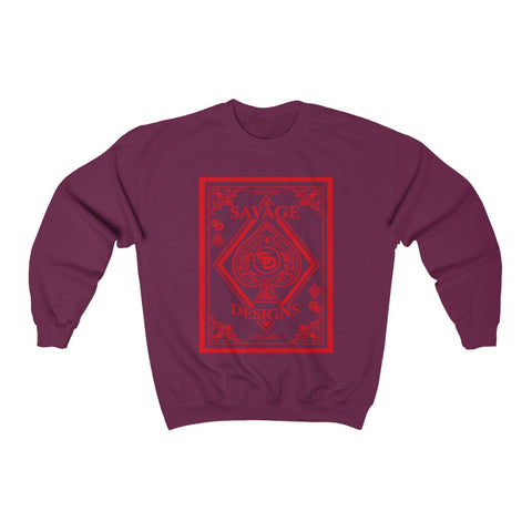 Savage Designs Ace of Spade Red Sweatshirt- 2 Colors