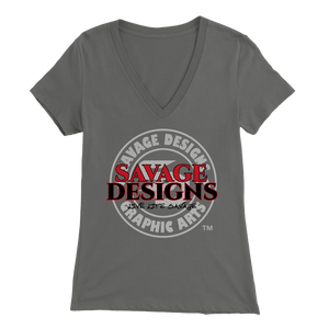 Savage Designs Faded Symbol Red/Black/White V-Neck- 6 Colors
