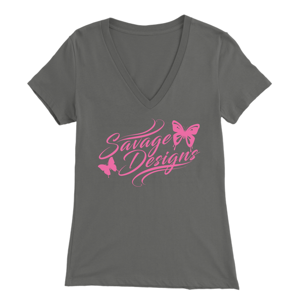 Savage Designs Butterfly Elegance Light Pink V-Neck- 9 Colors