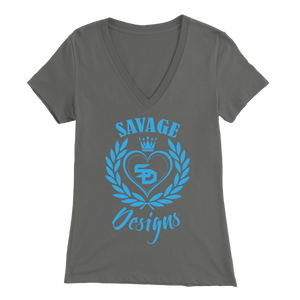 Savage Designs Heart of Hearts Turquoise V-Neck- 9 Colors