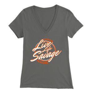 Savage Designs Live Life Savage Calligraphy White/Orange V-Neck- 9 Colors