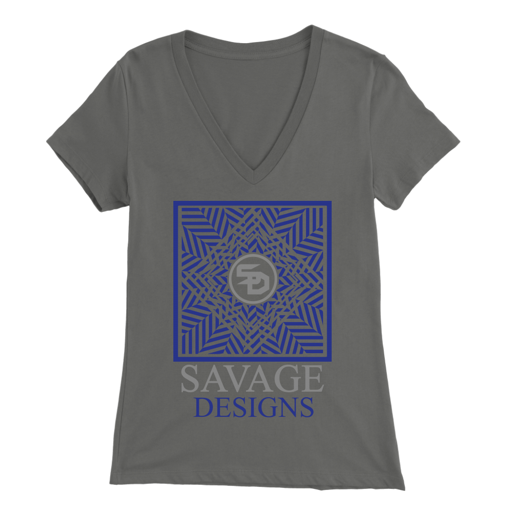 Savage Designs Optical Illusion Royal Blue/Grey V-Neck- 5 Colors