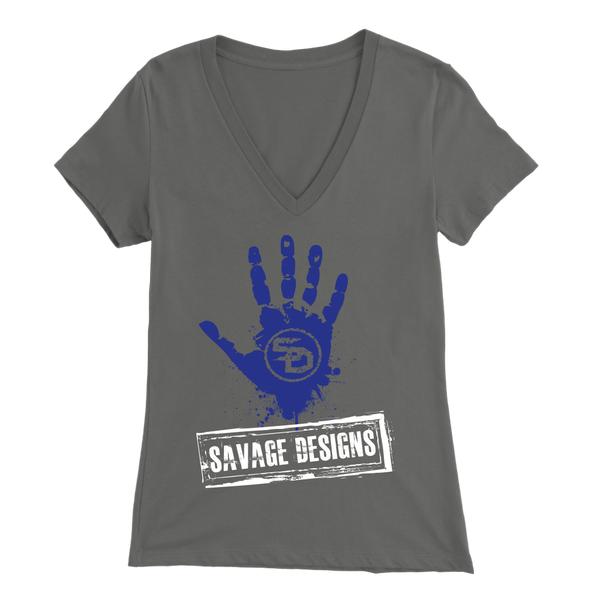 Savage Designs Handprint Stamp Royal Blue/White V-Neck- 9 Colors