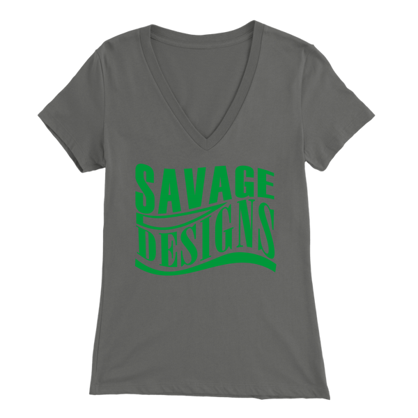 Savage Designs Warped Curve Green V-Neck- 8 Colors