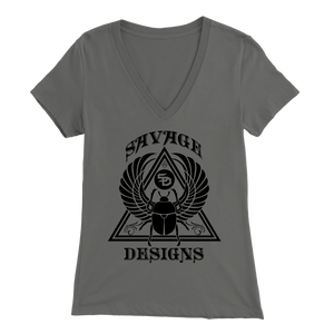 Savage Designs Eygptian Scarab Bettle Black V-Neck- 11 Colors