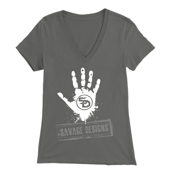 Savage Designs Handprint Stamp White/Grey V-Neck- 9 Colors