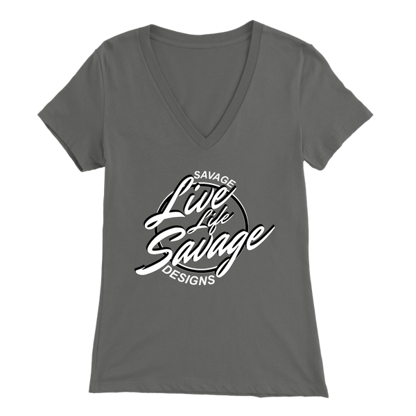 Savage Designs Live Life Savage Calligraphy White/Black V-Neck- 11 Colors